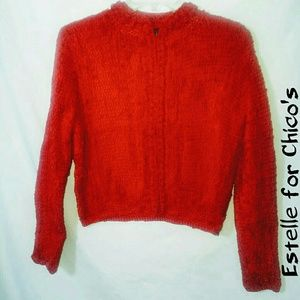 Estelle small red heavy hook front cardigan